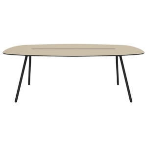 Medium A-Lowha Long Board Table, Sand, Black Frame