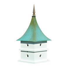 Cypress Landing Bird House, White With Verdi Copper Roof