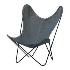 AA Butterfly Armchair, Grey Canvas