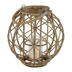 Round Rustic Woven Rattan Lantern with Jute Handle and Glass Insert
