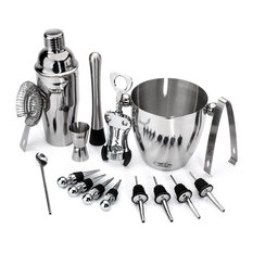 Bar Buddy - 16-Piece Stainless Steel Wine and Cocktail Bartender Set - Cocktail Shakers and Bar Tool Sets