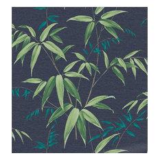 Blue Oriental Bamboo Midnight  Floral Wallpaper, Roll