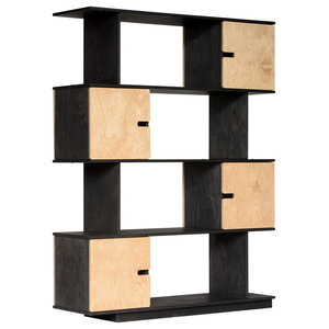 PIX Modular Shelving Unit, Dark Grey and Oak, 4 Cupboards