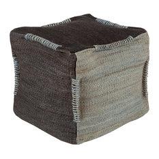 Continental Cube Pouf, Black, Light Gray