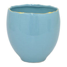"Benzara 62984 5 75"" Blue and Golden Ceramic Planter"