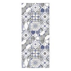 "18x42"" Kitchen Floor Mat Blue Taupe Non Slip Designer Mats for Kitchen Bathroom"