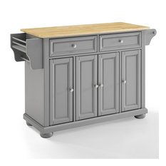 Pemberly Row Natural Wood Top Kitchen Island In Vintage Gray