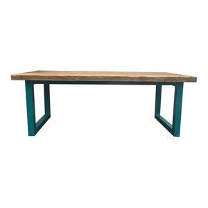 Ubar Reclaimed Wood Table/Desk, Blue, Large