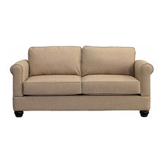Georgetown Quick Assembly Two Seat Mahogany Leg Sofa, Almond