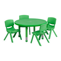 """33"""" Round Green Plastic Height Adjustable Activity Table Set With 4 Chairs"""