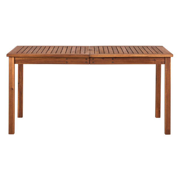 Create a simple yet inviting dining space on any deck or patio with this charming dining table. Constructed with a beautiful slatted surface from solid acacia hardwood, this table is naturally sturdy and stylish. Relax and enjoy the outdoors with this exceptional outdoor wood table. Simple, modern designDurably constructed of Acacia woodNatural grain finish and shineResistant to a variety of outdoor elementsExposure to extreme temperatures not recommendedShips ready-to-assemble with step by step instructions
