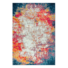 Contemporary POP Modern Abstract Cream/Blue 5' x 8' Area Rug