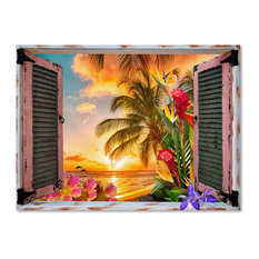 "Leo Kelly 'Tropical Window to Paradise II' Canvas Art, 47""x35"""