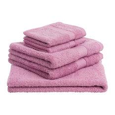 New York Plain Terry Towels, 5-Piece Set, Antique Rose Pink