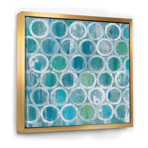 Designart Natural Blue Circle Modern Framed Artwork, Gold, 46x46