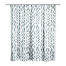 Modern Herringbone Shower Curtain, Teal