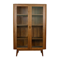New Pacific Direct Inc.   Milano Glass Door Cabinet, Walnut   China Cabinets  And