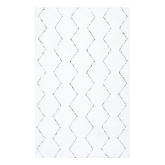 "Handmade Moroccan Trellis Striped Rug, White, 8'6""x11'6"""