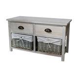 Storage Bench Wicker Unit, Vintage Grey Range