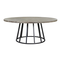 Knox 72-inch Round Dining Table Storm Gray Reclaimed Wood
