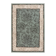 "Surya Alfresco 1108 Machine Made 5'3"" Round Area Rug, Sage, Cream"