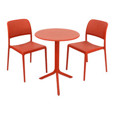 Step Table With Bistrot Chairs, 3-Piece Set, Red