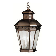 Burnished Bronze and Clear Seedy Glass Exterior Hanging Light