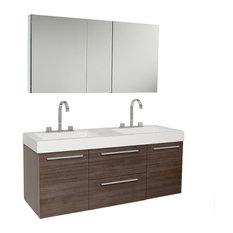 "Opulento 54"" Gray Oak Modern Double Sink Bathroom Vanity, Medicine Cabinet"