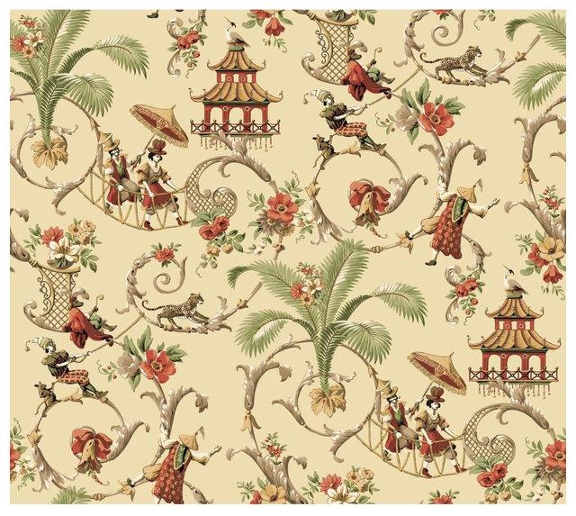 Waverly Wallpaper Mandarin Prose Oriental Asian Toile ...