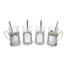 SILVER Combination of 4 Russian CUT Crystal Hot Tea Glass 8.5 Oz & Glass Holder