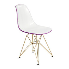 LeisureMod Cresco Molded Dining Chair With Gold Eiffel Base, White Purple