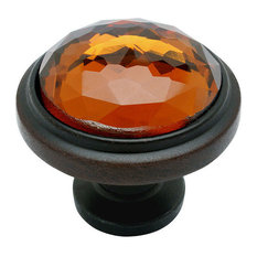 Cosmas 5317ORB-A Oil Rubbed Bronze and Amber Glass Round Cabinet Knob