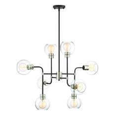 Pierre Chandelier - Polished Nickel, Matte Black with Glass, 8