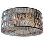Lightupmyhome - The Monroe Round Clear Crystal Chandelier, Flush, Antique Brass - With three rows of glimmering faceted crystals, the Monroe round chandelier adds a touch of glamour to any space. The clear crystal prisms will cast a beautiful glow on your walls.