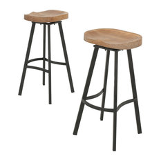 gdfstudio shea wood and iron swivel bar stools set of 2 bar stools