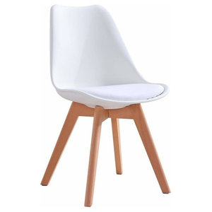Contemporary Chair Natural Solid Wood Legs With Cushioned Seat, White Finish