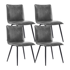 Dining Chair Armless PU Leather Set of 4 Side Chair, Grey