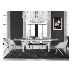 Casabianca Home Cloud Stainless Steel Extendable Dining Table