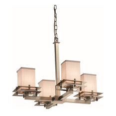 Justice Designs Textile Metropolis 4-Light Chandelier, Brushed Nickel