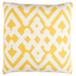 """Surya - Surya Large Zig Zag 18"""" x 18"""" Saffron And Cream Pillow Cover ZZG003-1818 - Embodying timeless traditions while maintaining the fabulous and fashionable elements of trend worthy design, the pieces from the Large Zig Zag Collection will effortlessly cement themselves in your decor space! The meticulously woven construction of these pieces boasts durability and will provide natural charm into your decor space. Made with Linen, Cotton in India, Spot Clean Only, Line Dry."""