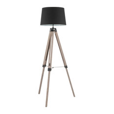 Lumisource Compass Floor Lamp, Gray Washed Wood and Black Shade