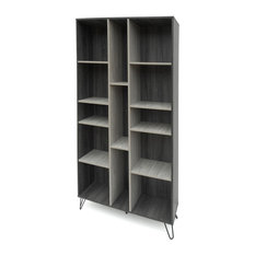 GDF Studio Vivian Modern Two Toned Gray Oak Finished Faux Wood Bookshelf