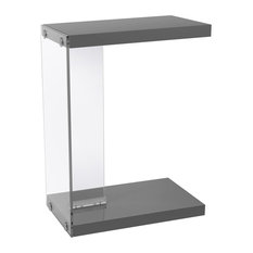 Accent Table With Tempered Glass, Glossy Gray