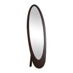 Contemporary Oval Frame Mirror, Cappuccino