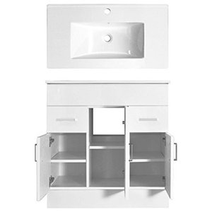 Modern Vanity Unit with White Ceramic Basin Sink, 2 Doors and Inner Shelf