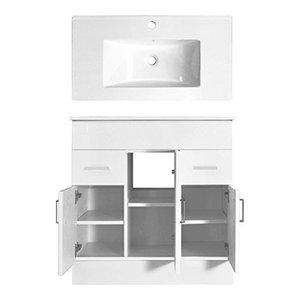 Modern Vanity Unit with White Ceramic Basin Sink, 2 Doors and Inner Shelf