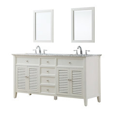 Shutter 70-inch White Vanity Top: Carrara Marble Without Mirror