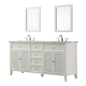 """Shutter 70"""" White Vanity, Top: Carrara Marble, Without Mirror"""
