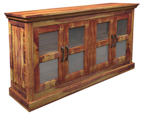 Dallas Ranch Indian Rosewood Buffet Cabinet W Glass Windows