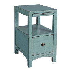 1-Drawer Chairside Table, Waves Blue Finish